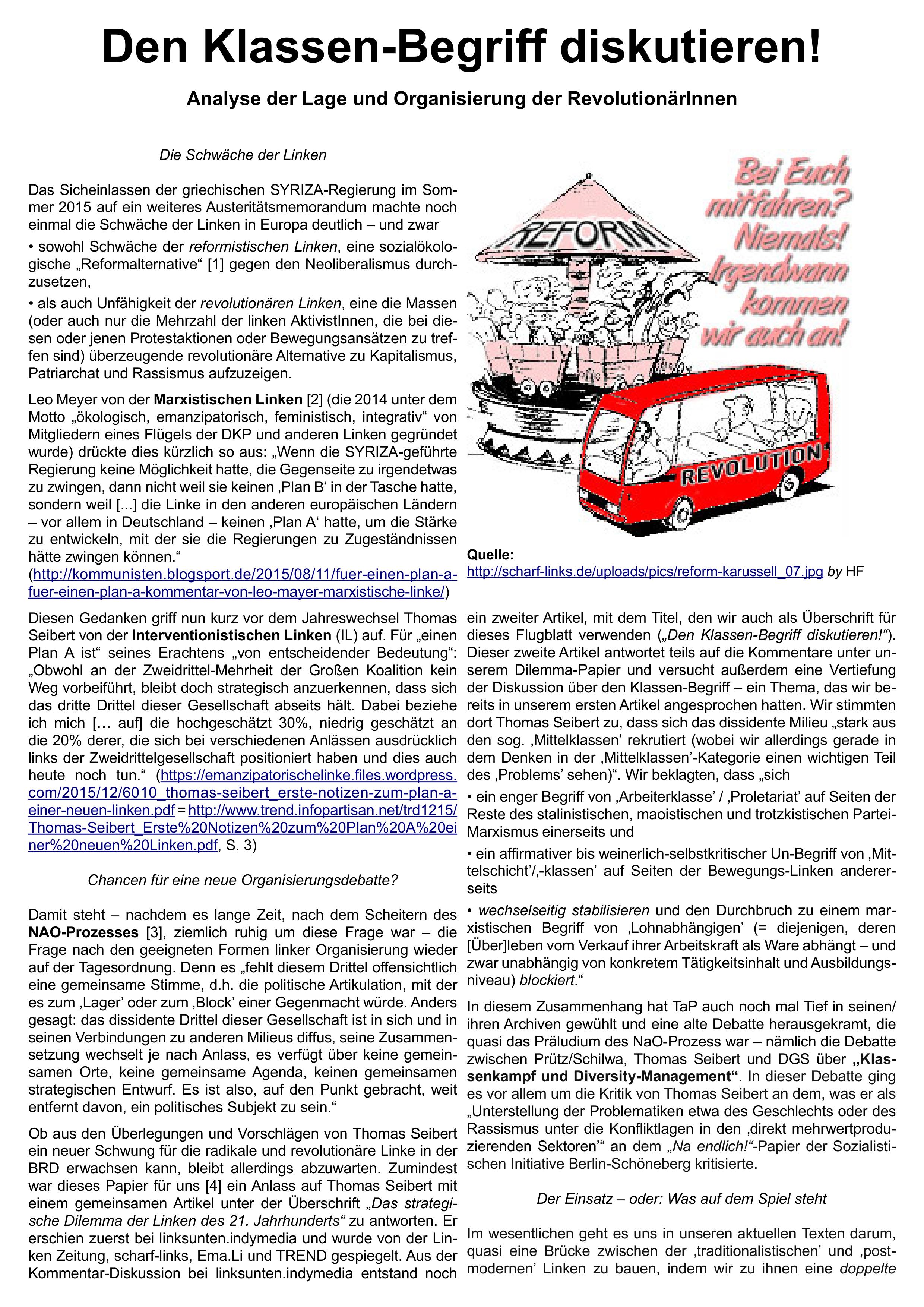 Seite 1 des Flugblatts